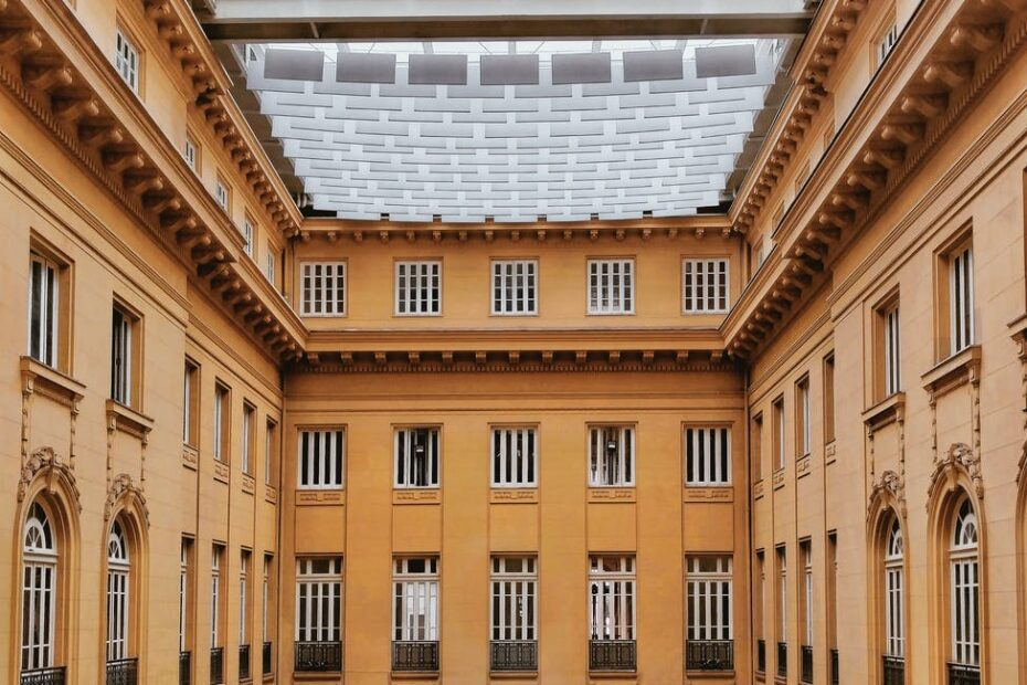 huge building yard with glass ceiling in daytime